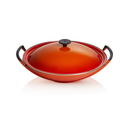 LE CREUSET - Gietijzer - Wok 36cm 4,5L rood